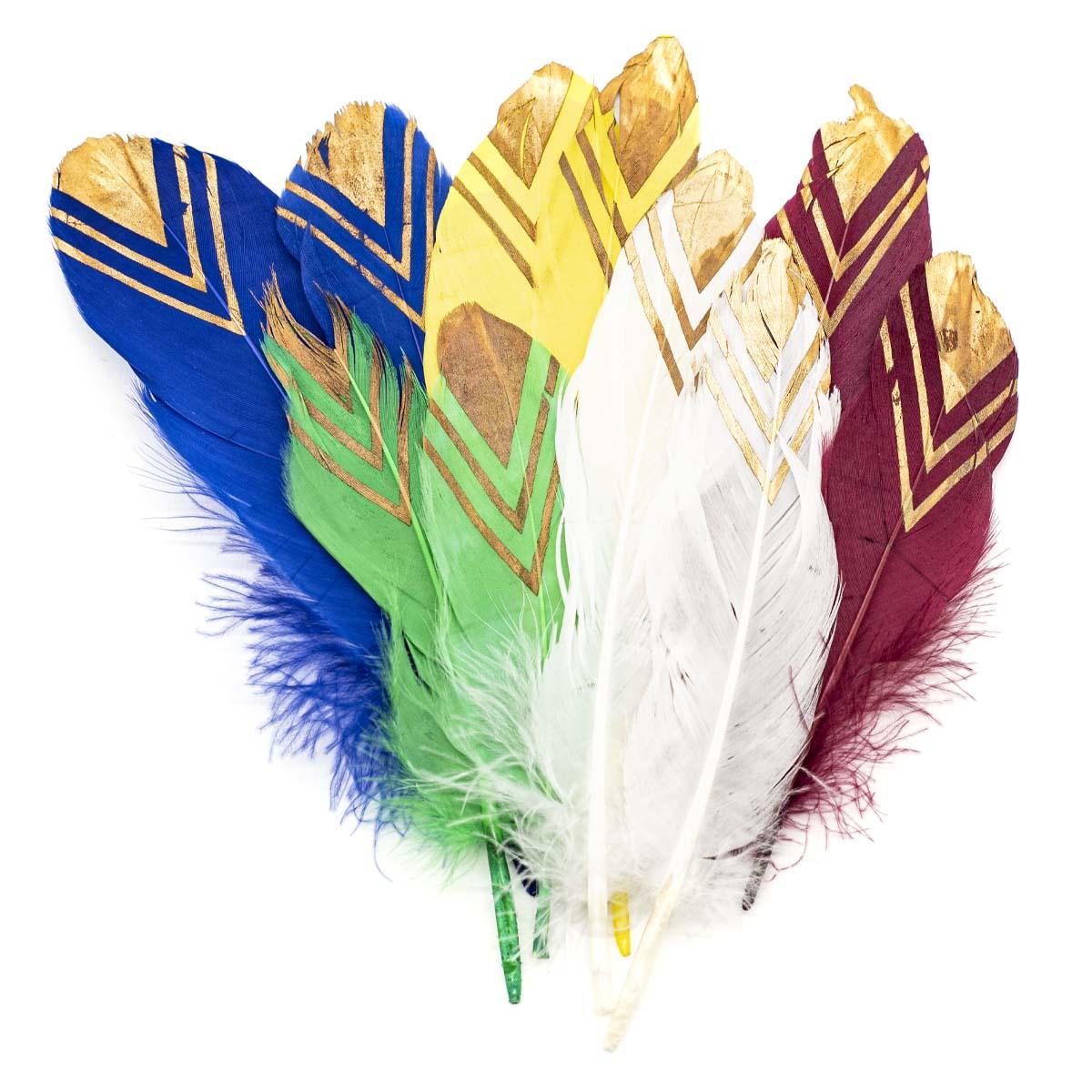 ST94068C Перья декоративные разноцветные,18-20см, 10 шт/упак