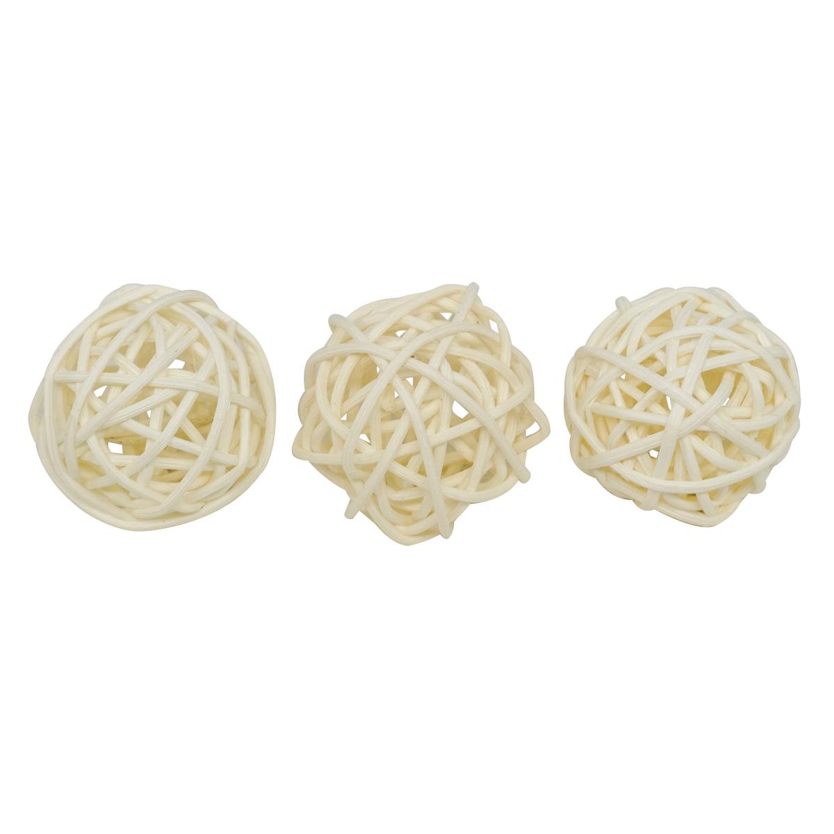 BH172AB Шары декоративные из ротанга 3см, 24шт/упак, цв.W (белый)