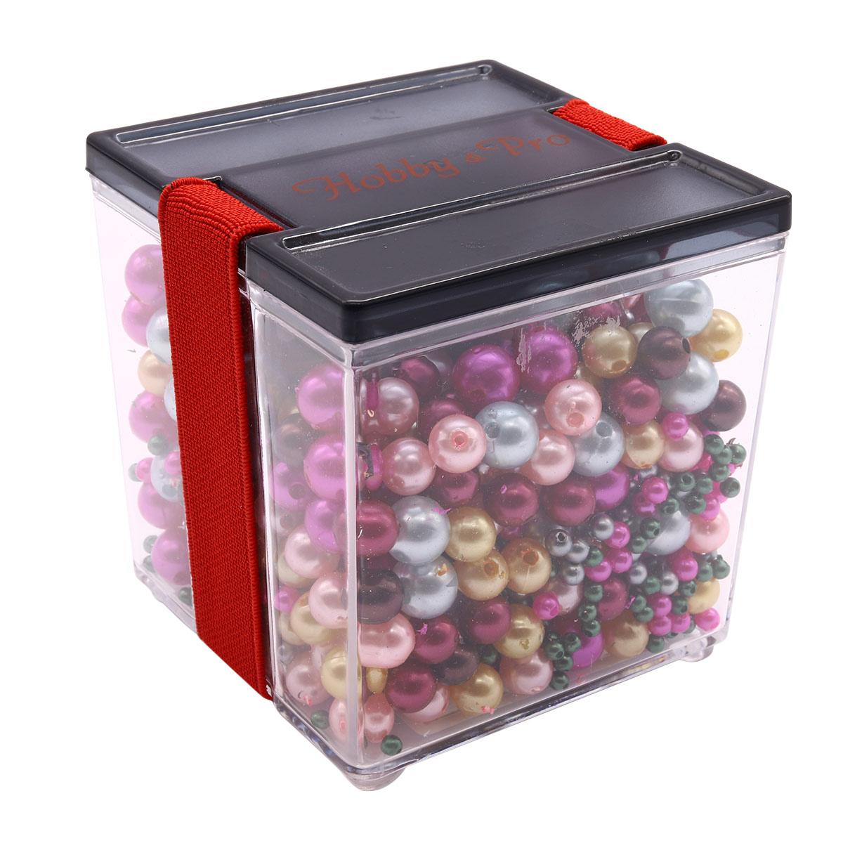 Набор пластиковых бусин в контейнере 10 цветов, 250 гр.
