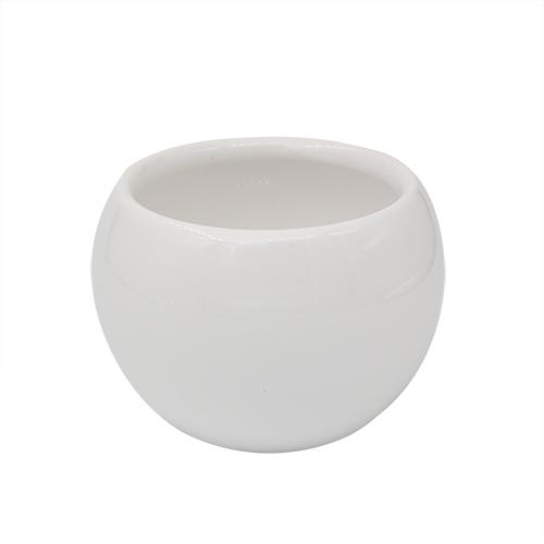 3AS-184 Цветочный керамический мини-горшок , 6*6см, цв. белый