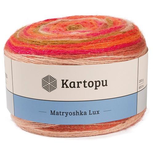 Пряжа KARTOPU 'Matryoshka Lux' 200г 800м (72% акрил, 14% шерсть, 10% шерсть линкольн, 4% металлическая нить)