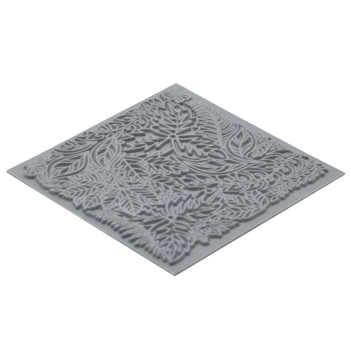 CE95022 Текстура для пластики резиновая 'Листья', 9х9 см