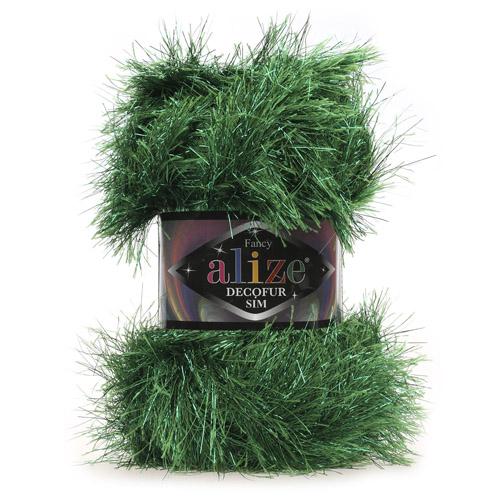 Пряжа ALIZE 'Decofur SIM' 100гр. 100м. (80% полиэстер, 20% металлик) ТУ (59501 зеленая трава) фото