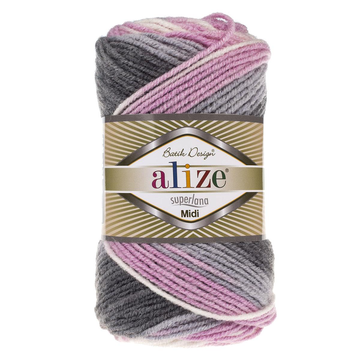 Пряжа ALIZE 'Superlana Midi Batik' 100гр. 170м (25% шерсть, 75% акрил)