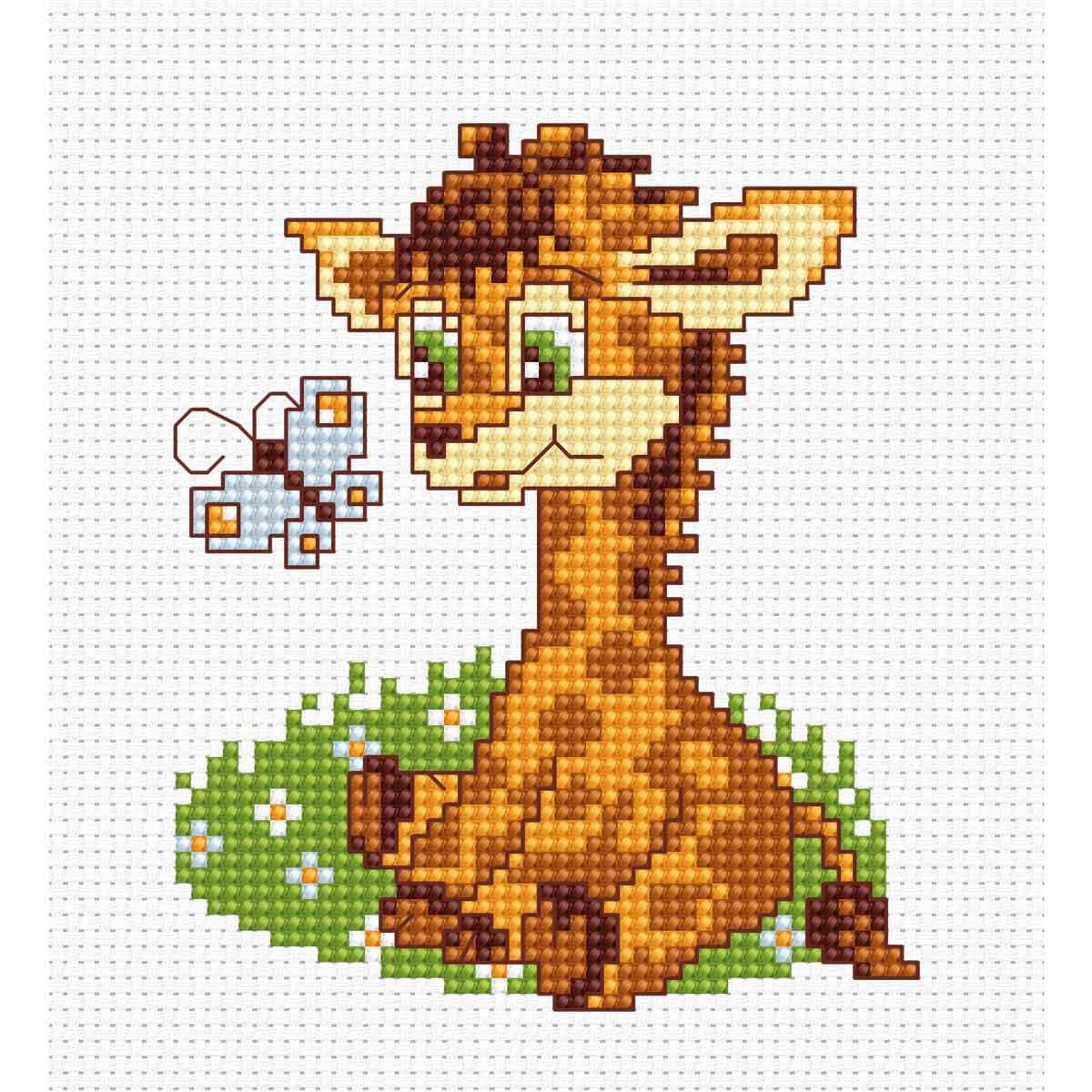 B044 Набор для вышивания Luca-S 'Моя первая вышивка. Жираф' 8,5*10 см