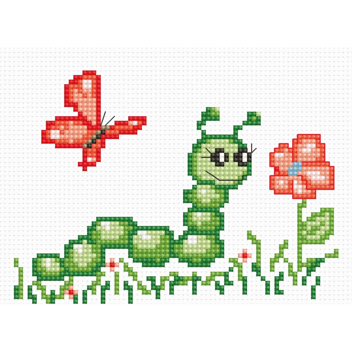 B074 Набор для вышивания Luca-S 'Моя первая вышивка. Гусеница' 13*9 см