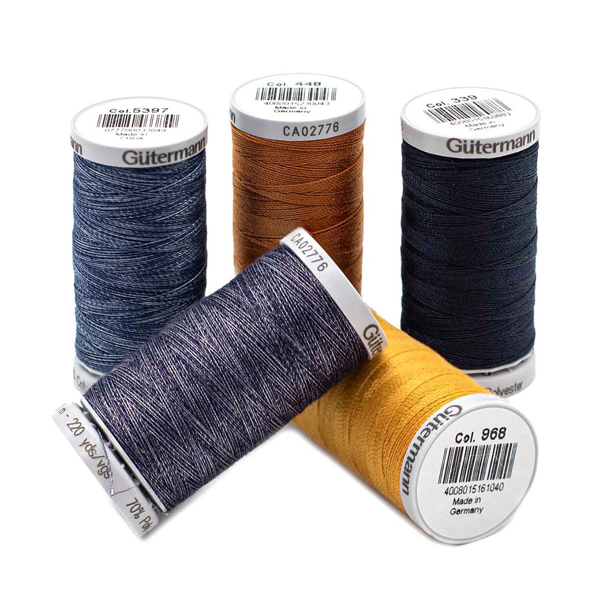 731323 Набор швейных нитей джинс (3 шт супер крепкой нити, 2шт джинсовой нити), col. 1