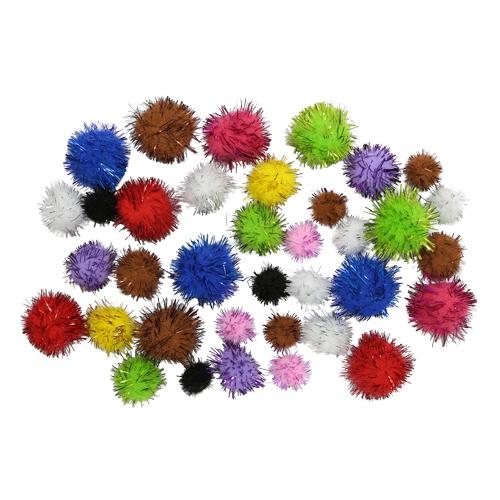 Набор помпонов с люрексом №5 микс 14 цветов,36 шт.