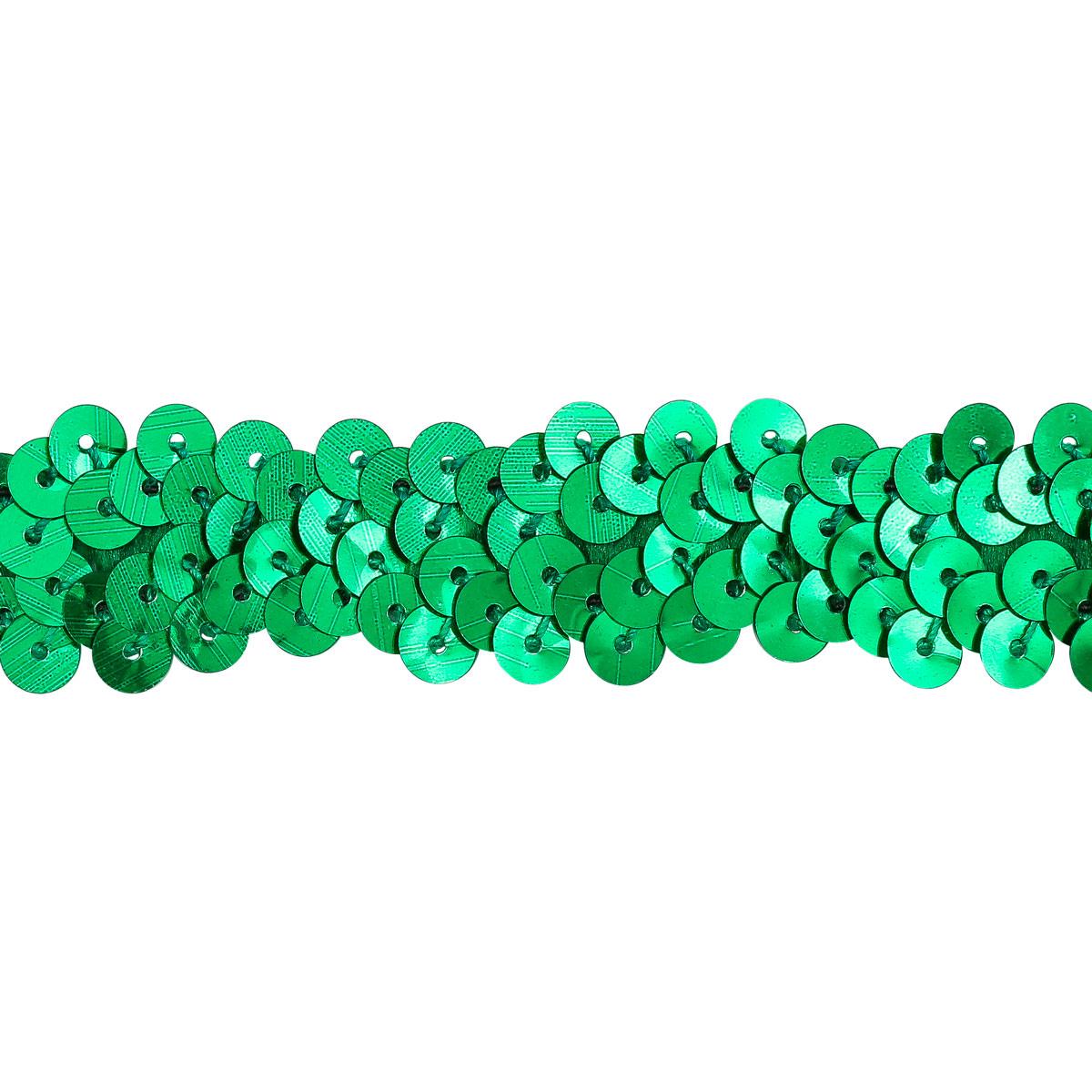 1AS-254 Тесьма эластичная с пайетками 18мм*10м (зеленый) фото