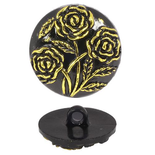 Пуговицы на ножке с золотыми розами 15мм