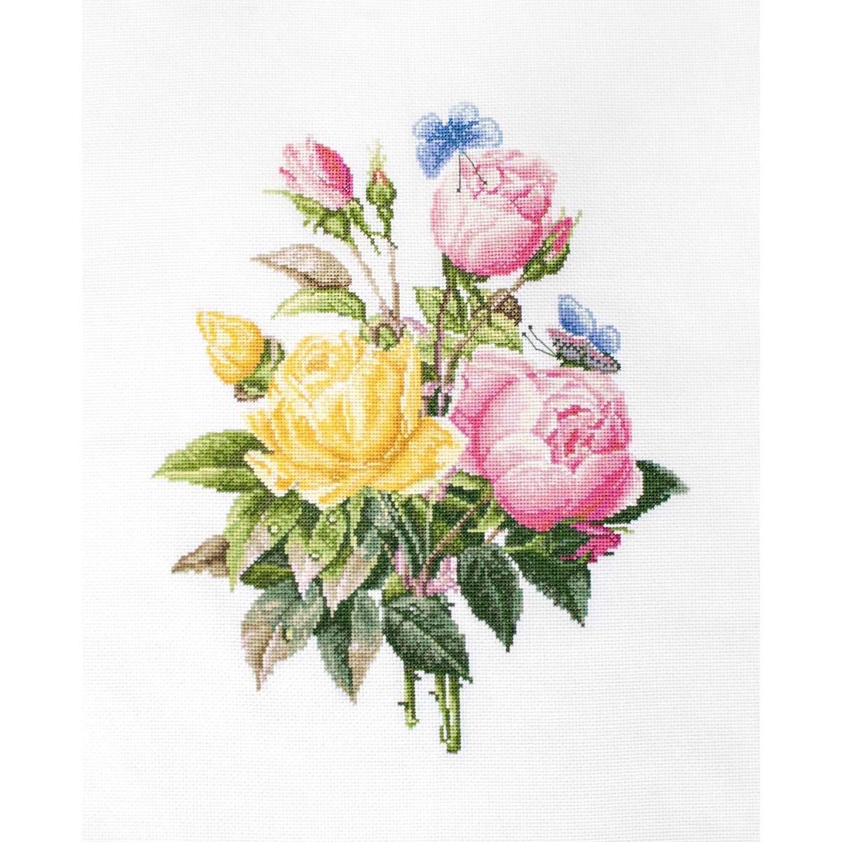 BU4003 Набор для вышивания 'Желтые розы и бенгальские розы' 20*35см, Luca-S фото
