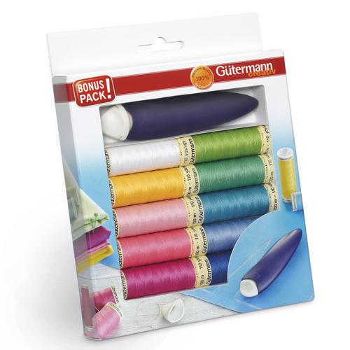 734561 Набор швейных нитей 100м с меловым карандашом, 10 катушек Гутерманн