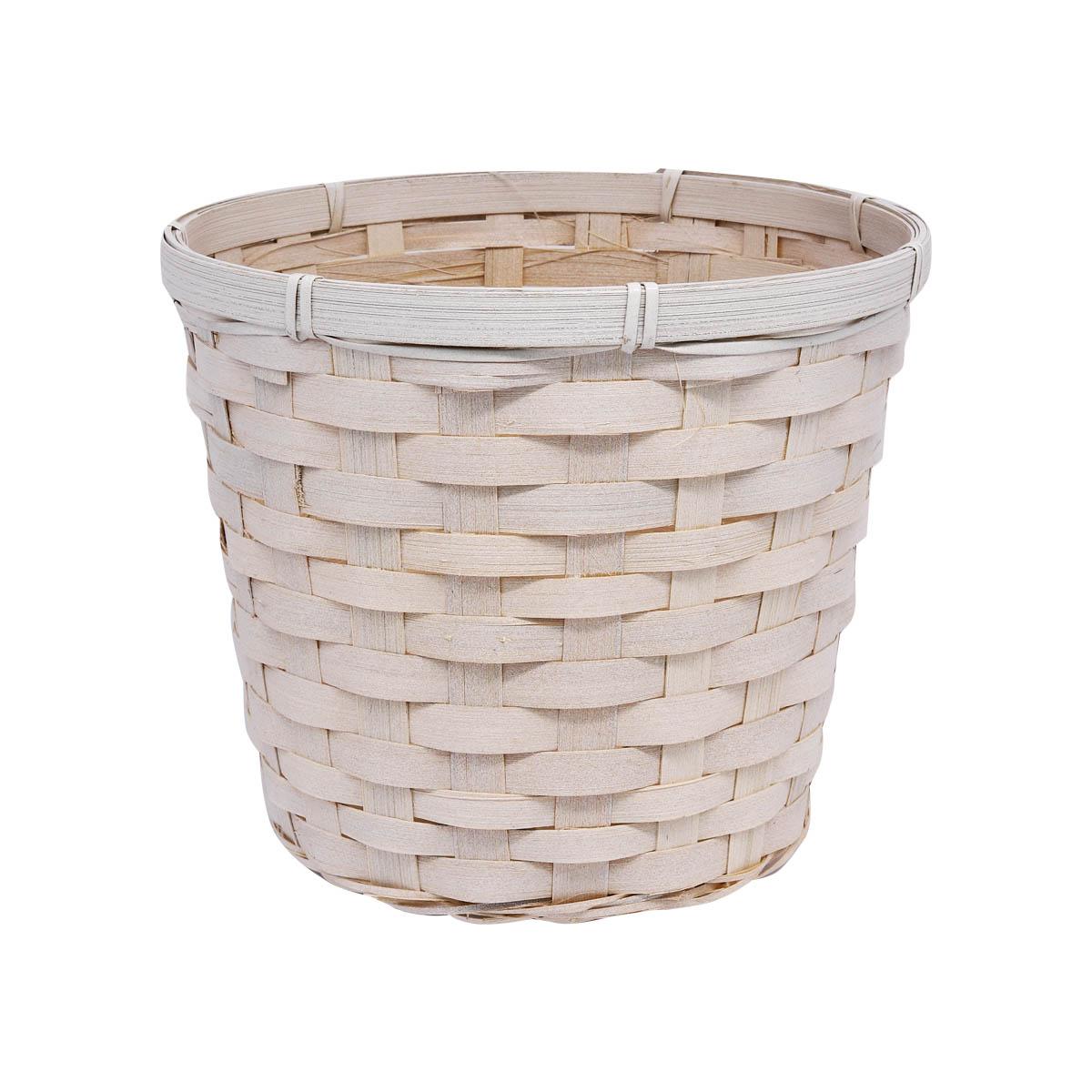 19HJ19075 Корзина плетеная бамбук 19*19см*Н15см, цв. белый Астра