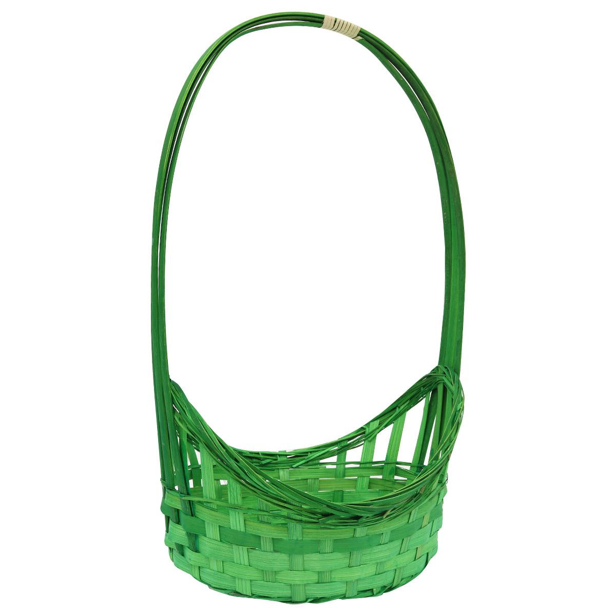 19HJ19080 Корзина плетеная бамбук, 25,5*19*14*9*Н38см, цв. зеленый Астра
