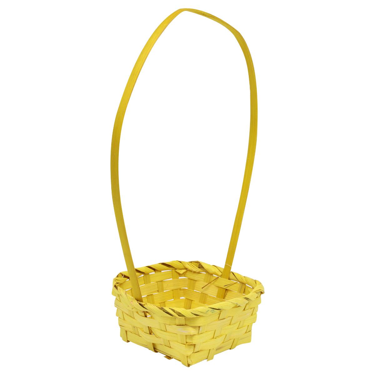 19HJ19083 Корзина плетеная бамбук 13*13*6,5*Н25,5см, цв. желтый Астра