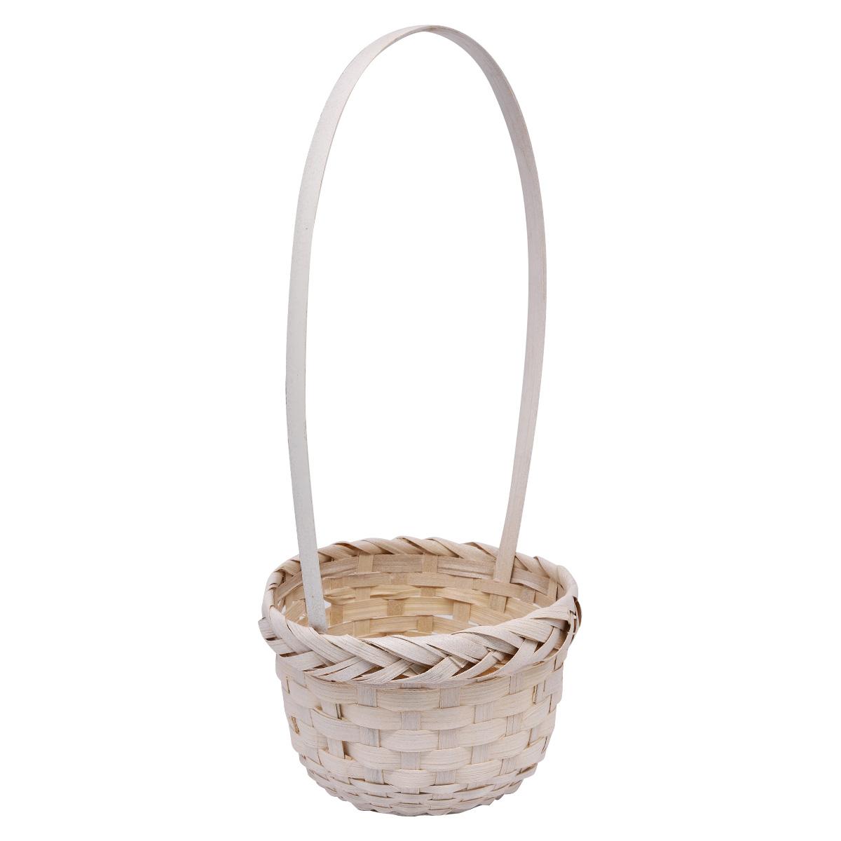 19HJ19087 Корзина плетеная бамбук 15*10*Н29см, цв. белый Астра