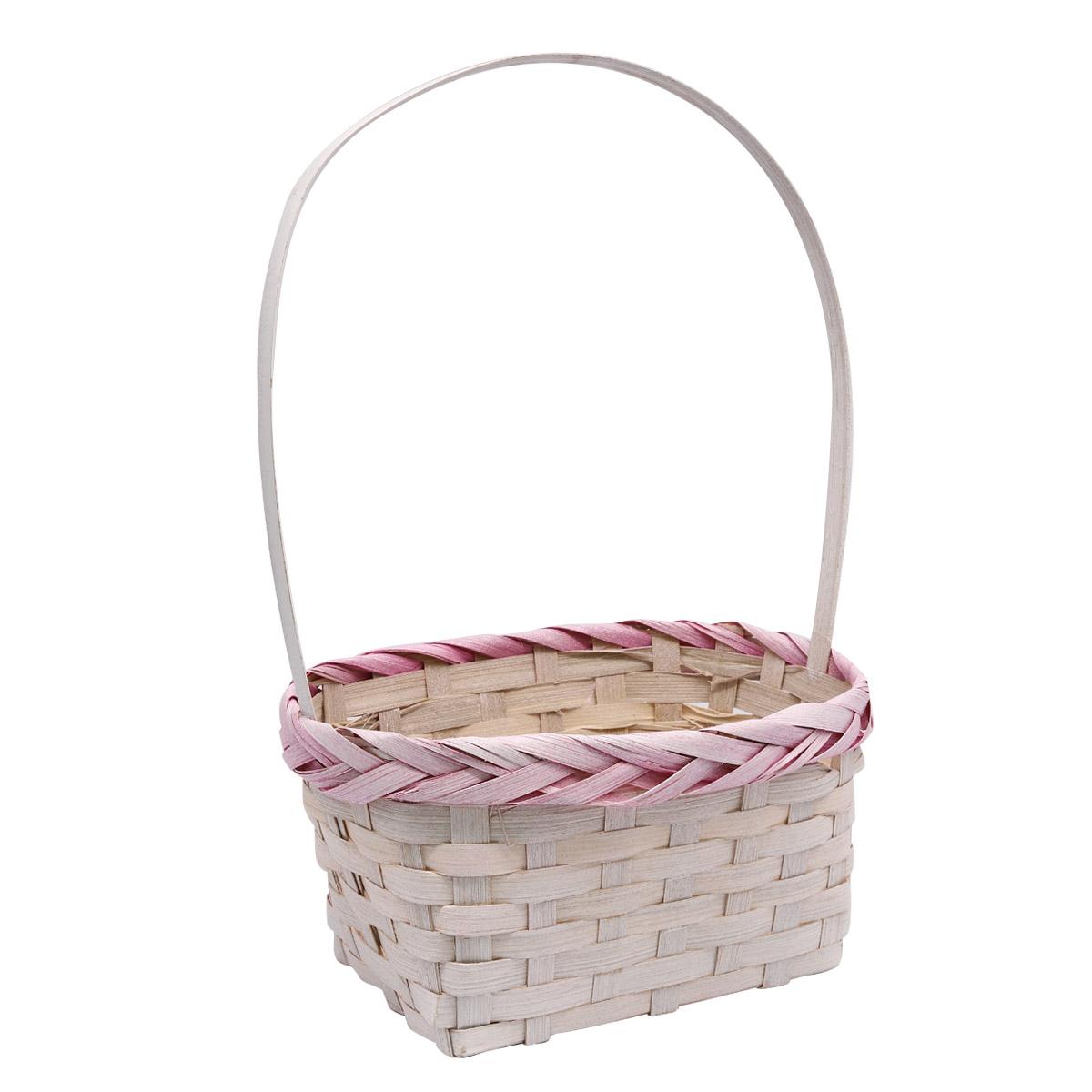 19HJ19094 Корзина плетеная бамбук 20,5*15,5*10*Н30,5см, цв. белый с розовым Астра