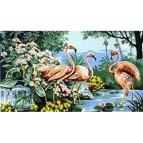 MRC1035-002 Канва с рисунком MARGOT 'Розовый фламинго' 45*65 см