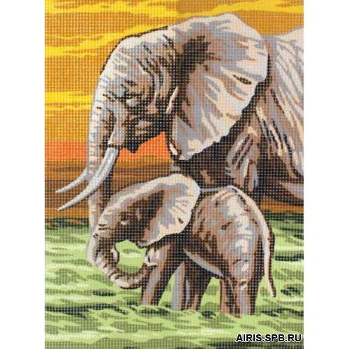 9880.0131.0099 Канва с рисунком Royal Paris 'Слоны' 22*30 см