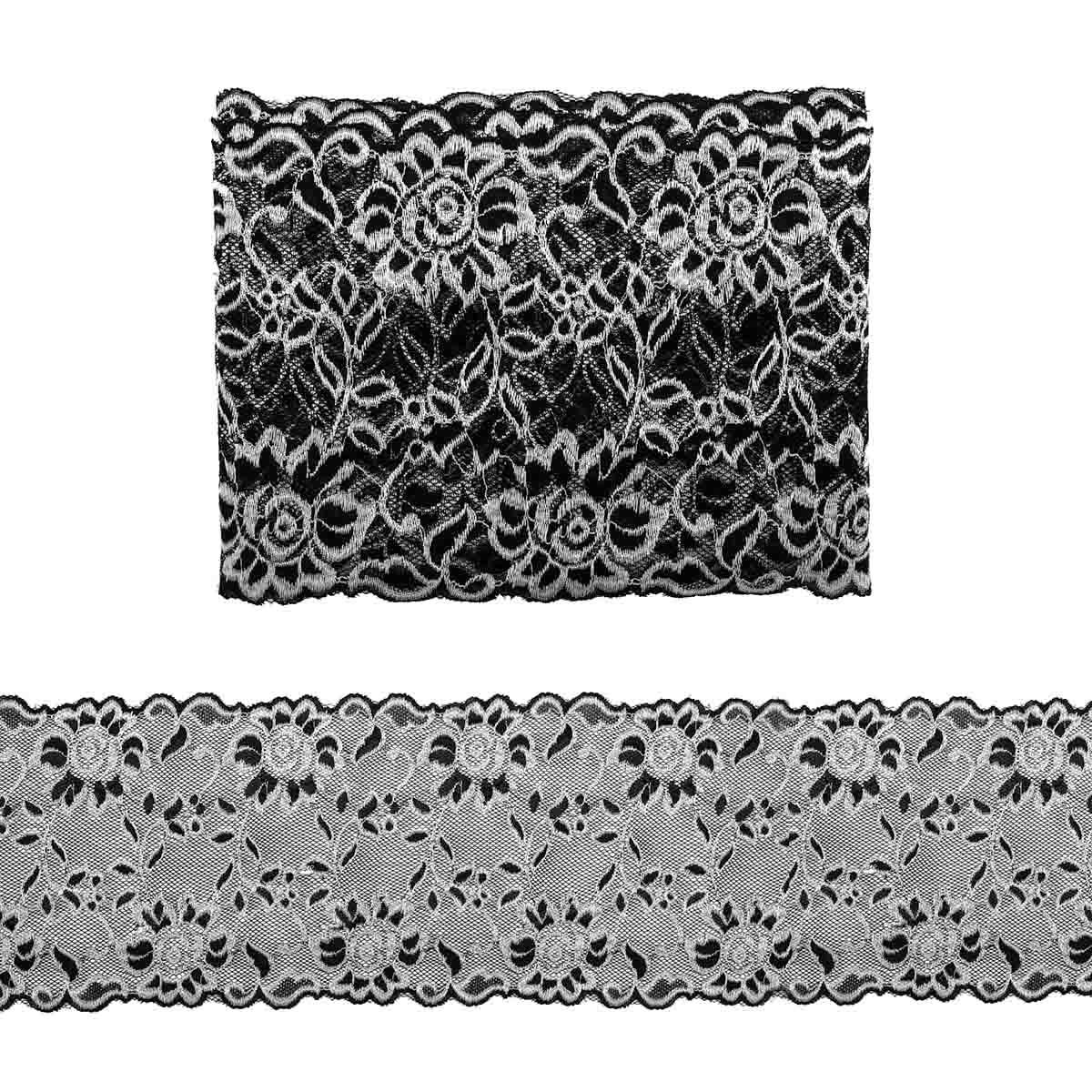 3AR362 Кружево эластичное двухцветное 17см*9,14 м (8 черный/серебро) фото