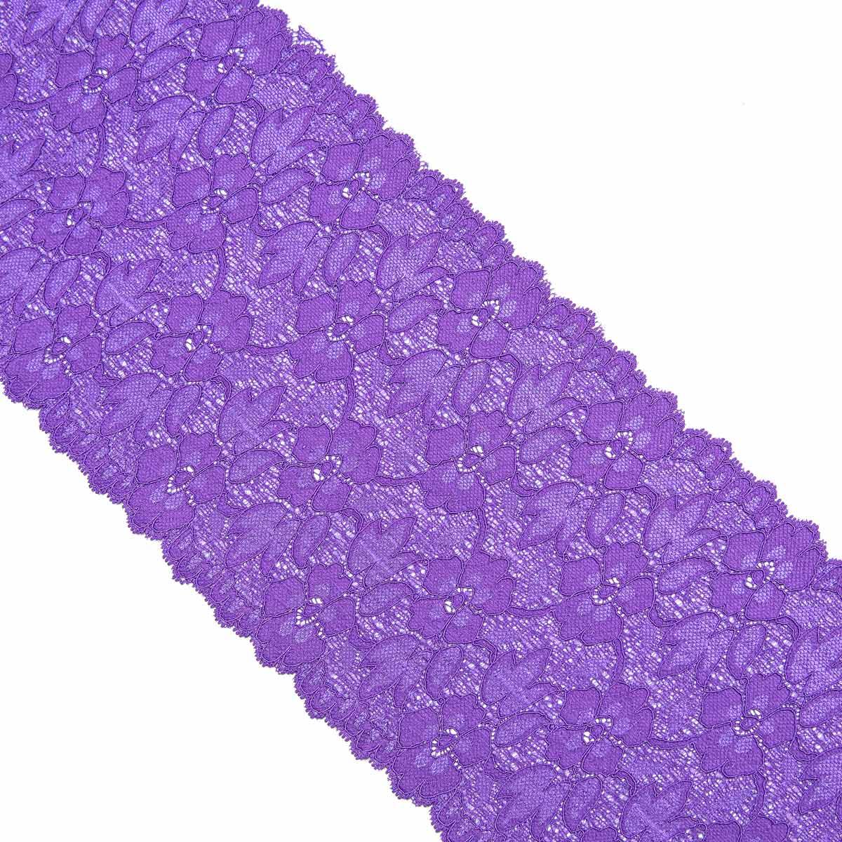 3AR364 Кружево эластичное 16см*9,14м (06 ярко-фиолетовый) фото