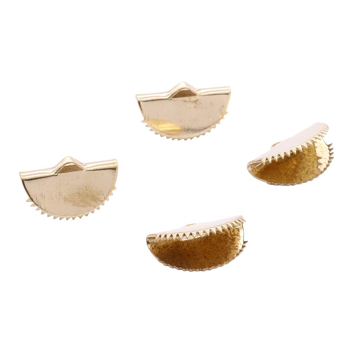 4AR223 Зажим для лент круглый, 15мм, 4шт/упак, Астра (Золото)