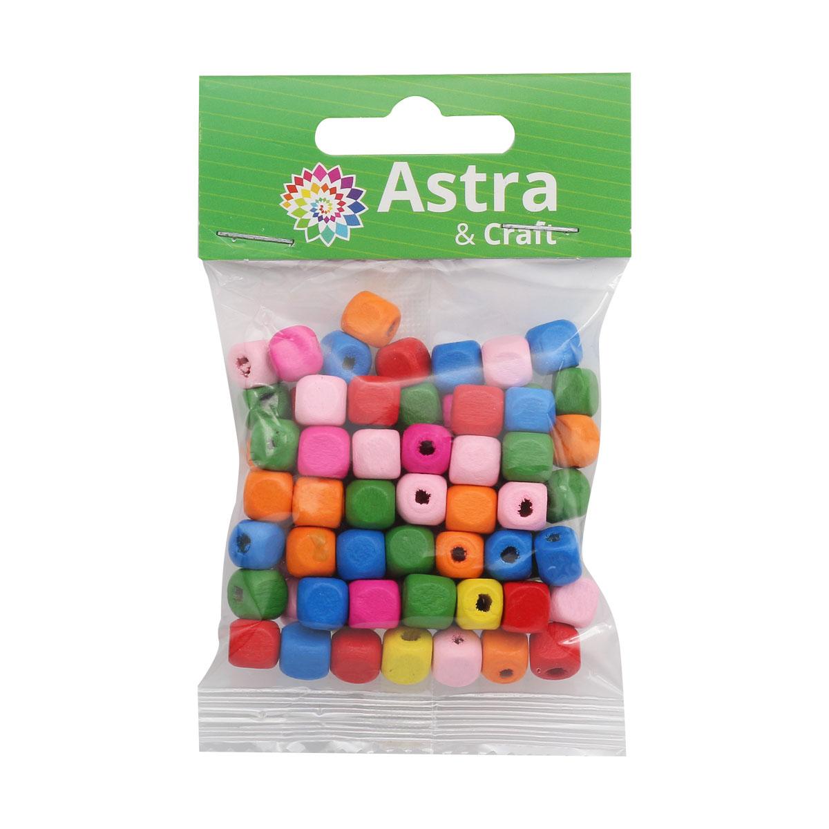 4AR400 Бусины деревянные, цветной микс,куб, 8мм, 18гр/упак, Астра