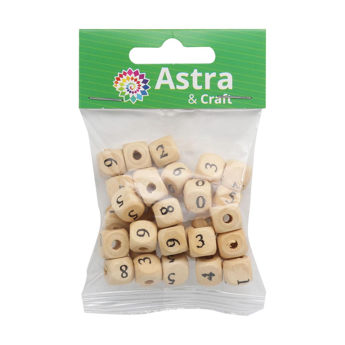 4AR406 Бусины деревянные с цифрами, 15гр/упак, Астра