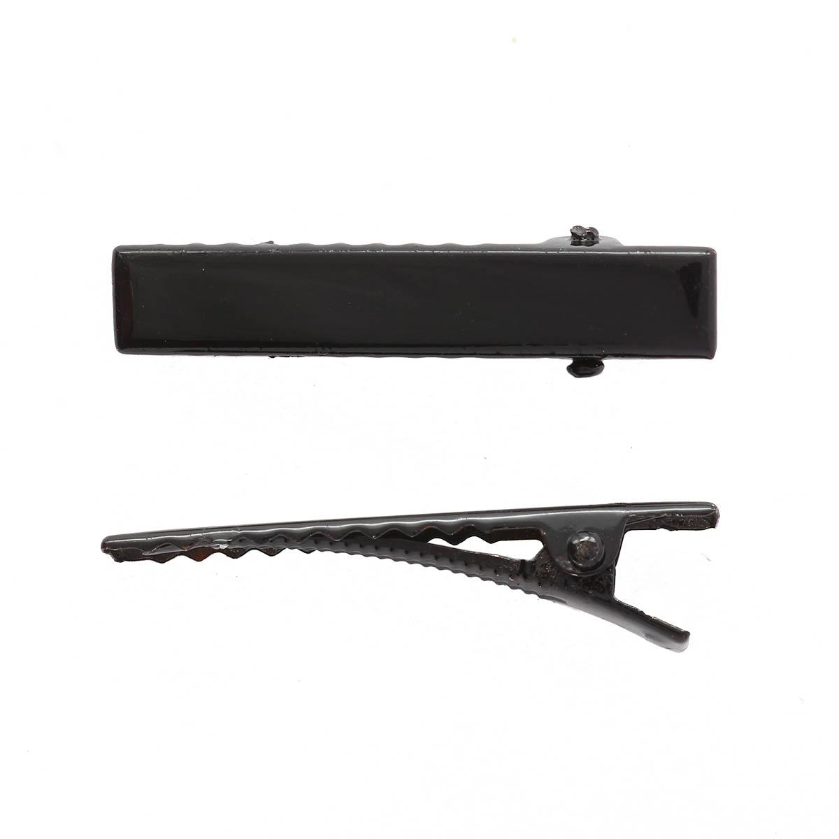 4AR080 Основа для заколки крокодил, черная 4см, 5 шт/упак, Астра