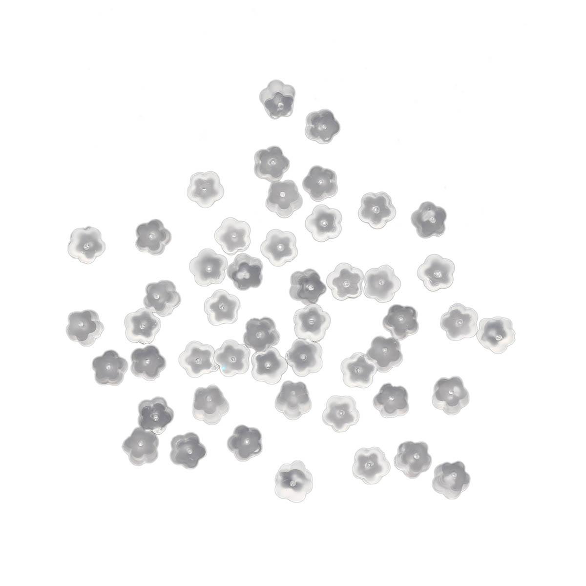 4AR218 Фиксатор для серег силиконовый цветок, 4мм, 50шт/упак, Астра