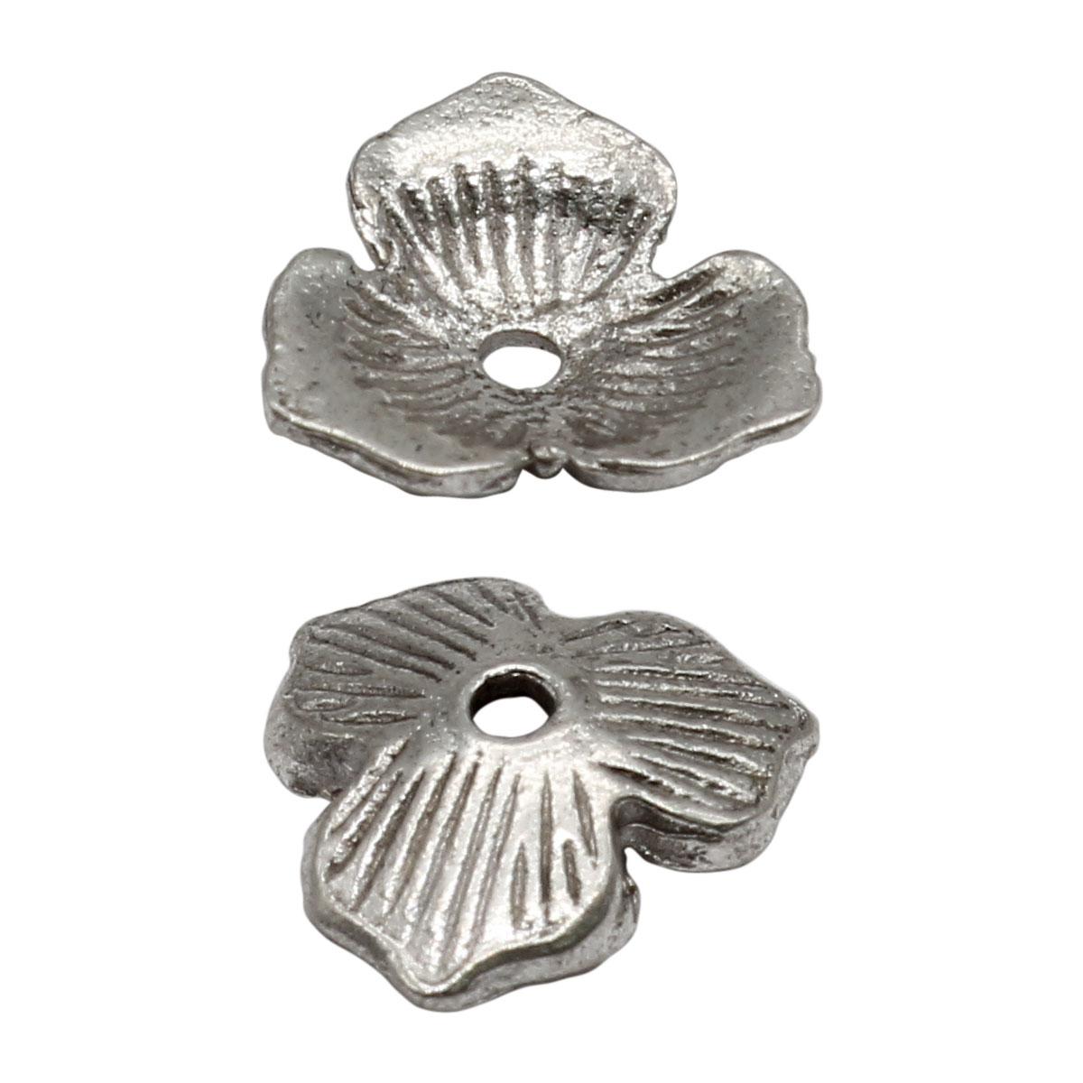 Шапочка для бусин 4AR285, 11мм, серебро, 10шт/упак, Астра