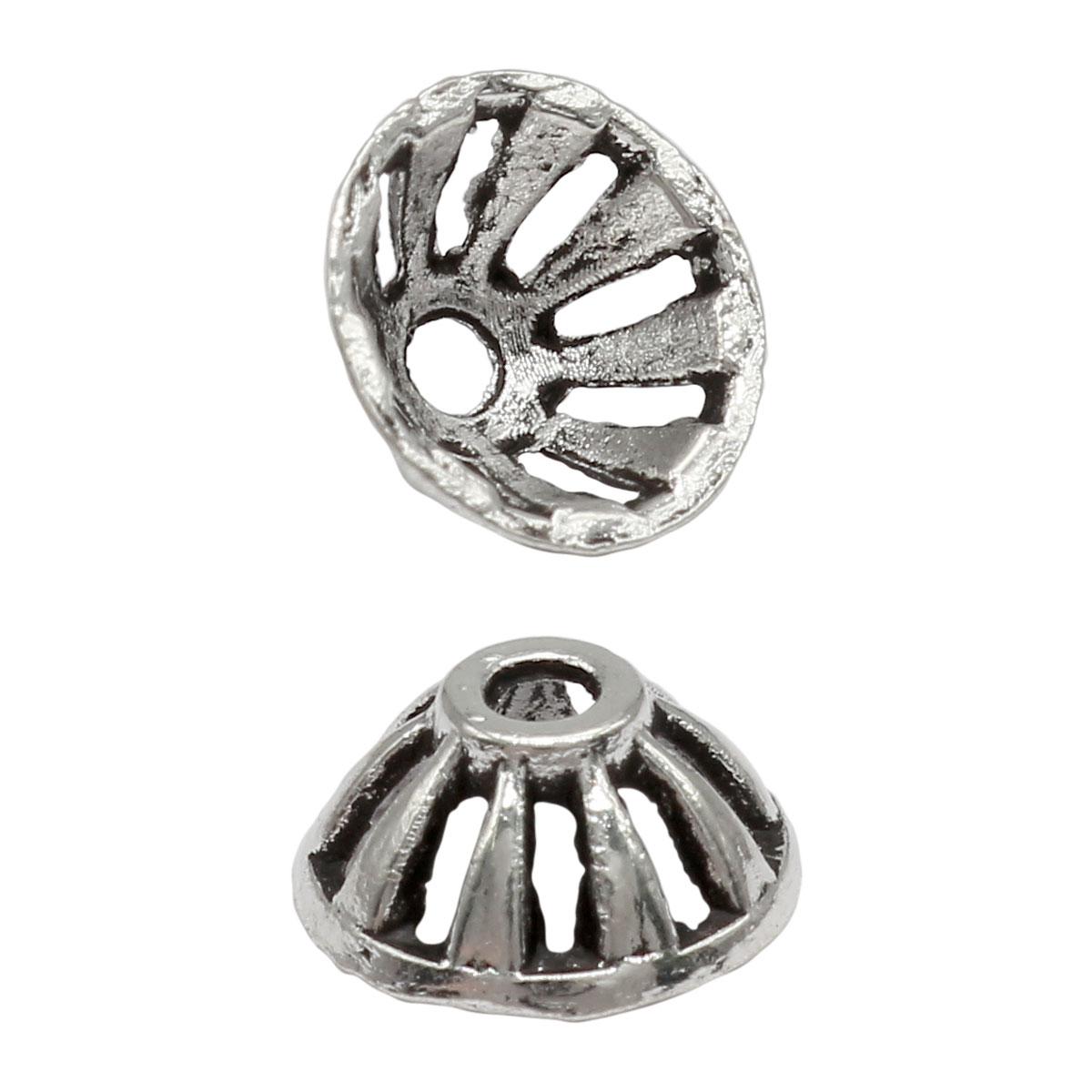 Шапочка для бусин 4AR287, 9,5мм, серебро, 10шт/упак, Астра