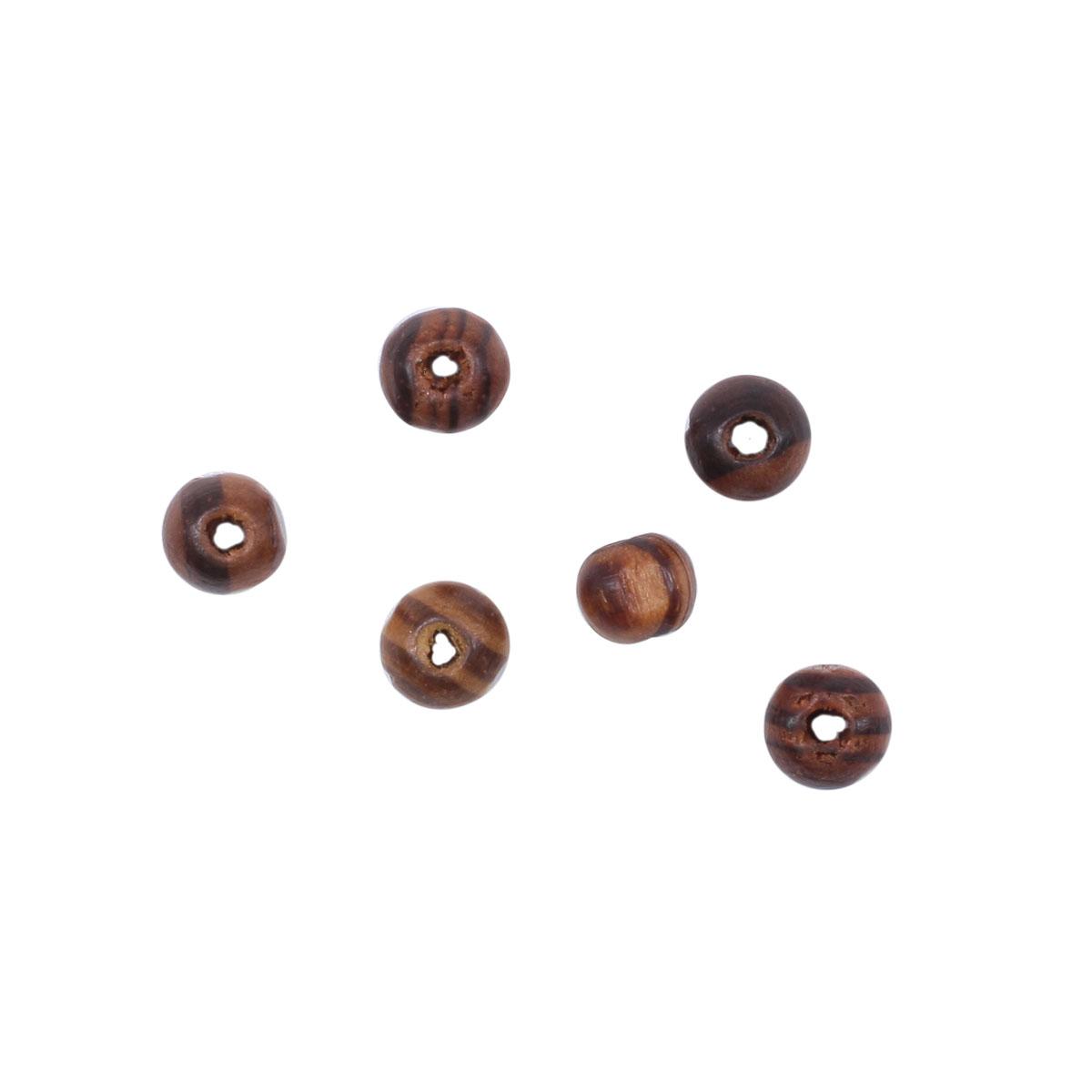 4AR388 Бусины деревянные светлые/полоска, 8мм, 18гр/упак, Астра