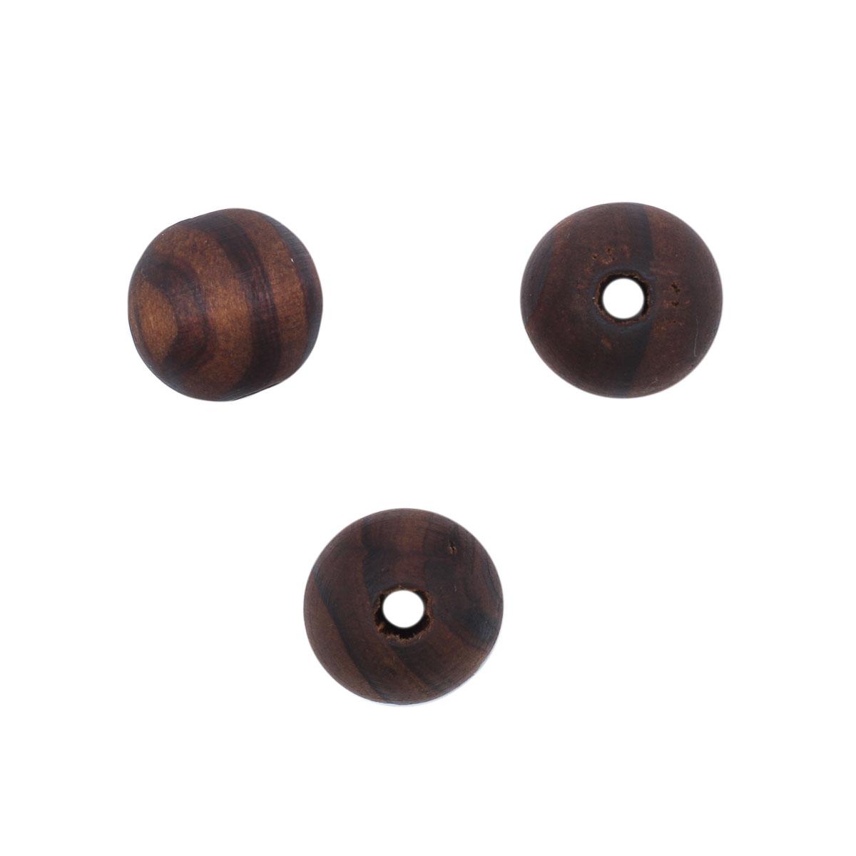 4AR391 Бусины деревянные темные/полоска, 8мм, 18гр/упак, Астра