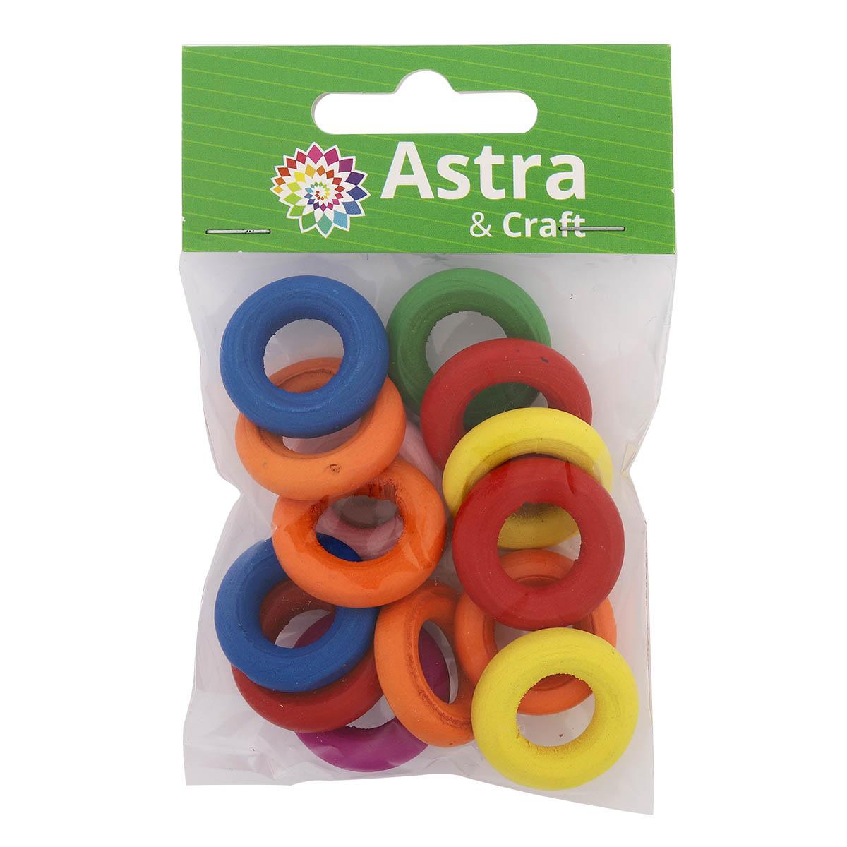 4AR402 Бусины деревянные, цветной микс,колечки, 15гр/упак, Астра