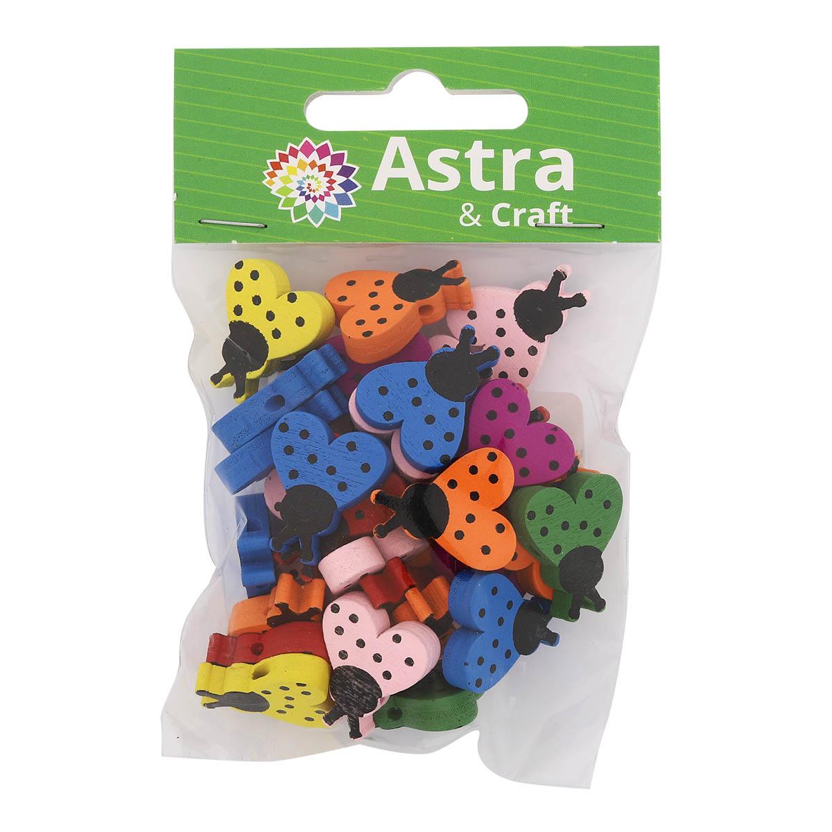 4AR403 Бусины деревянные, цветной микс, божья коровка, кг , 15гр/упак, Астра
