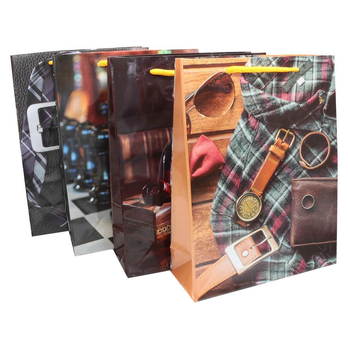 AR642 Подарочный пакет 'Для него' микс 4 дизайна 24*18см фото