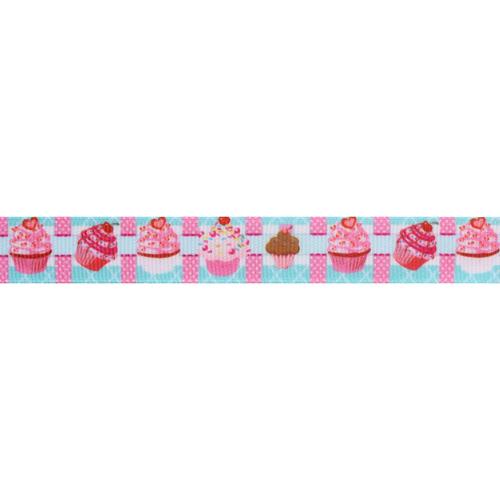 Лента репсовая 'Пирожные' 15мм*20м