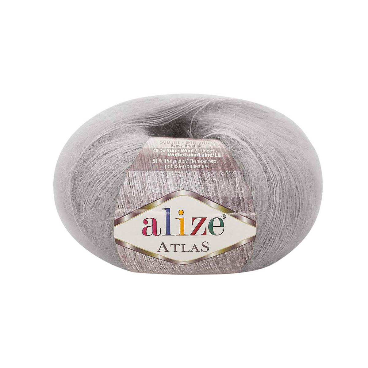 Пряжа Alize 'Atlas' 50гр. 250м. (49% шерсть, 51% полиэстер) (200 светло-серый) фото