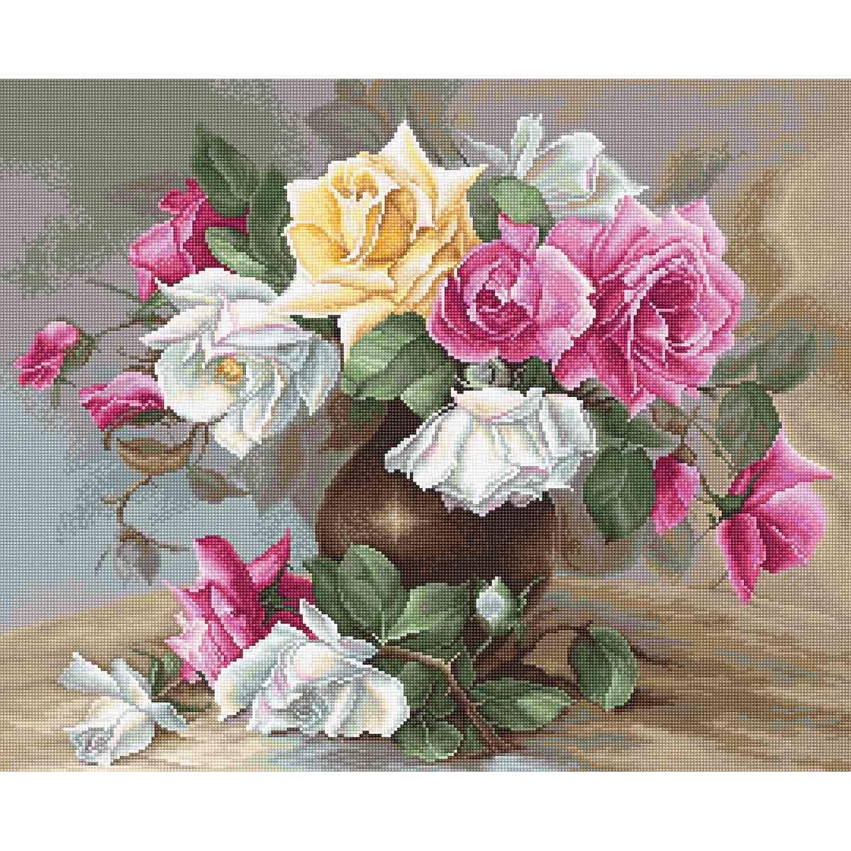 B587 Набор для вышивания Luca-S 'Ваза с розами' 38*31см фото