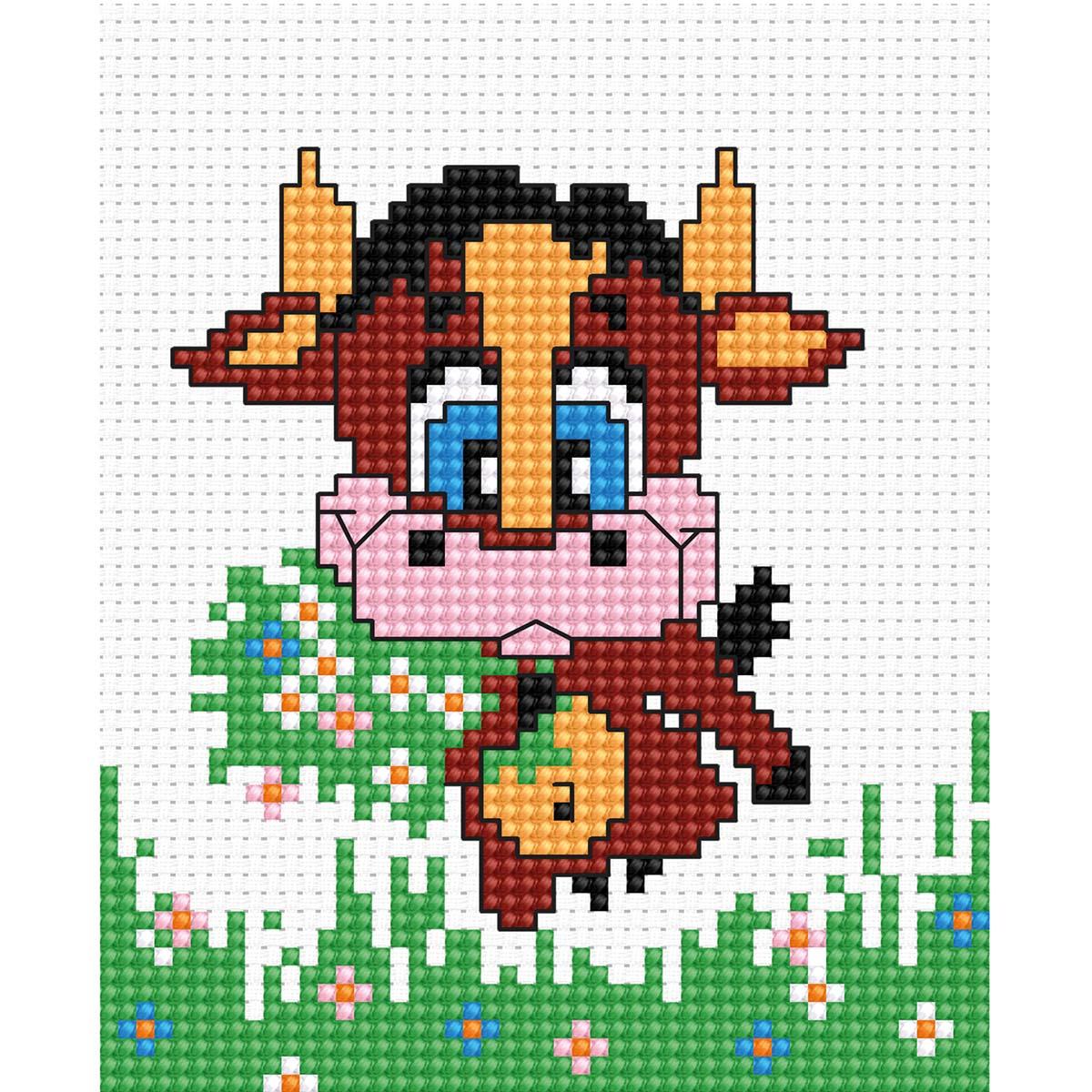 B047 Набор для вышивания 'Моя первая вышивка. Коровка' 9*9,5 см, Luca-S