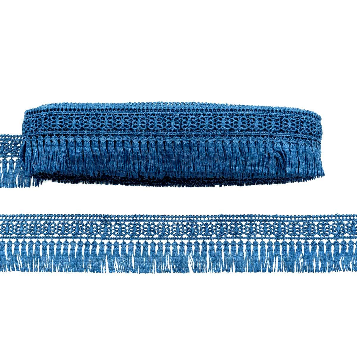3AR880 Кружево гипюр с бахромой 5см*13,72м (21515 джинсовый) фото