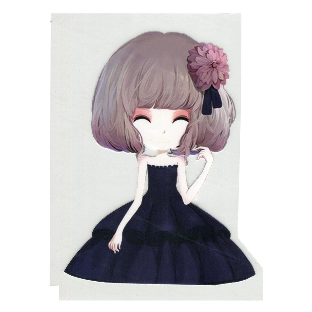 ALP-005 Термотрансфер 'Девочка в черном платье' 13*20см