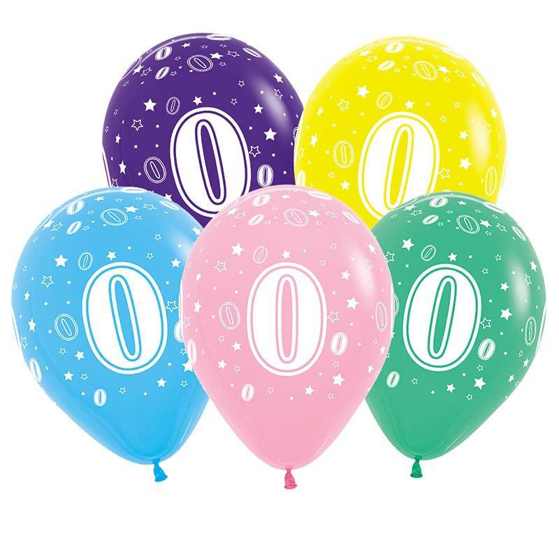 AR705 0 Воздушные шары цифры '0' 10шт/упак