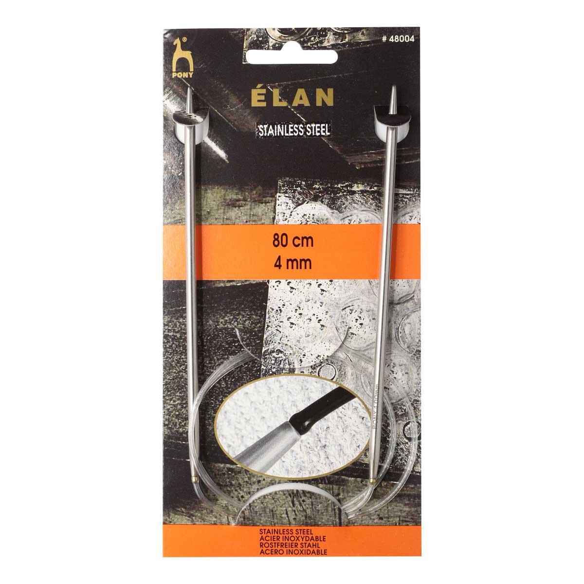 48004 Спицы вязальные круговые ELAN 4,00мм*80см, сталь PONY