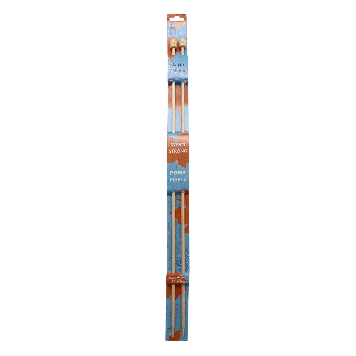 30107 Спицы вязальные прямые 3,50мм*35см, клен, 2шт PONY