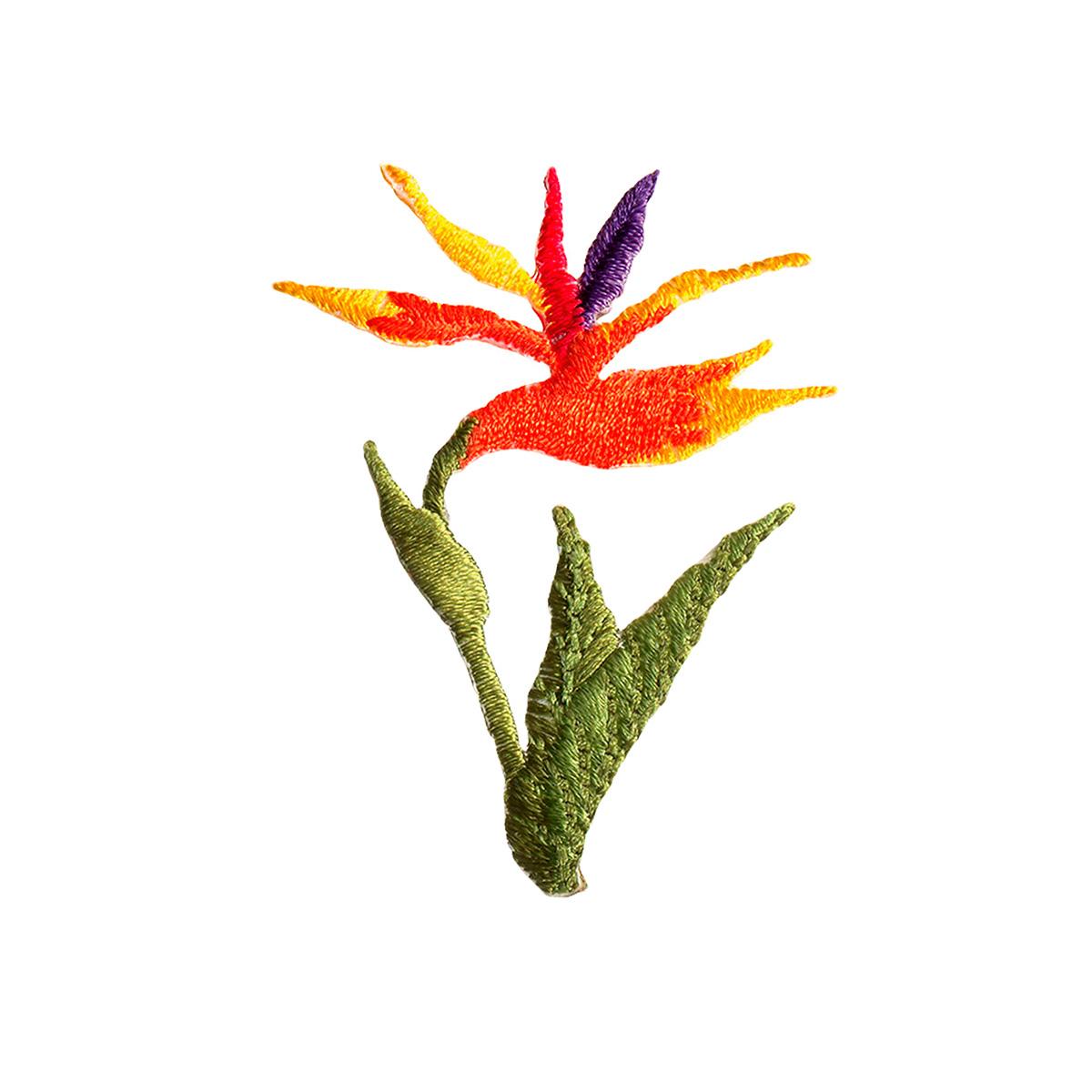 926692 Термоаппликация 'Цветок Стрелитция' оранж./зелен. 1шт Prym