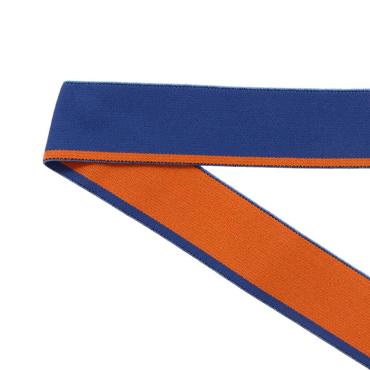 5031 Лента эластичная декоративная 3,0см*25м (голубой/рыжий)