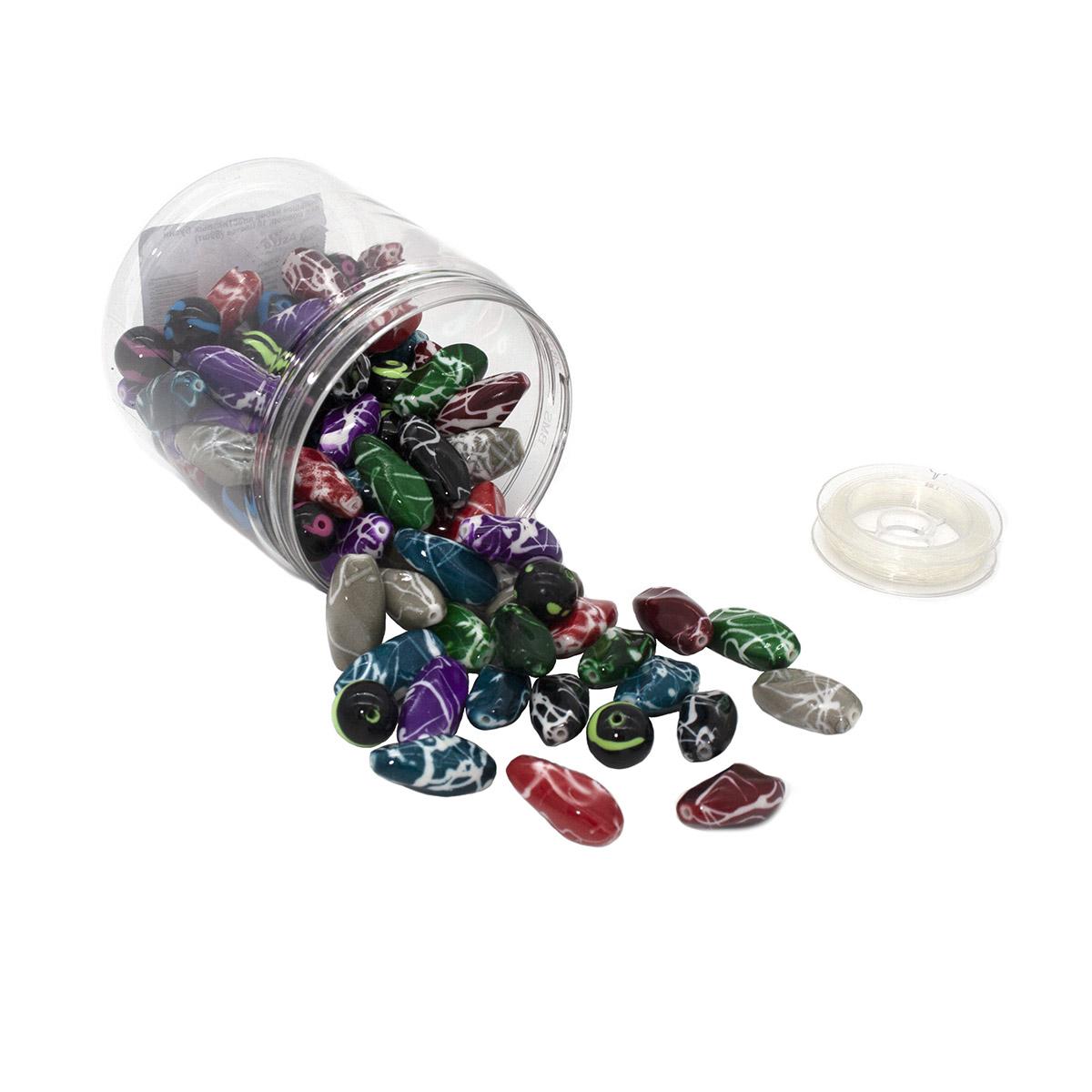 Большой набор пластиковых бусин под мрамор, 10 цветов по 25гр. (89шт), Астра
