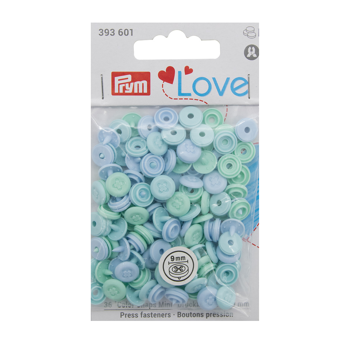 393601 Кнопки ColorSnapsMini имитация стежка Prym Love, голубой 36шт Prym